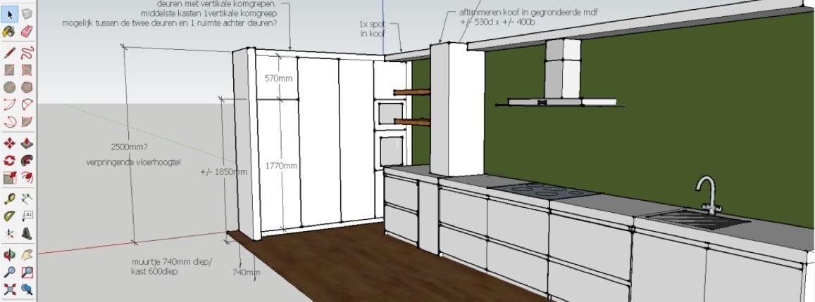 Computertekening van keuken
