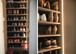 Schoenenkast met LED strips