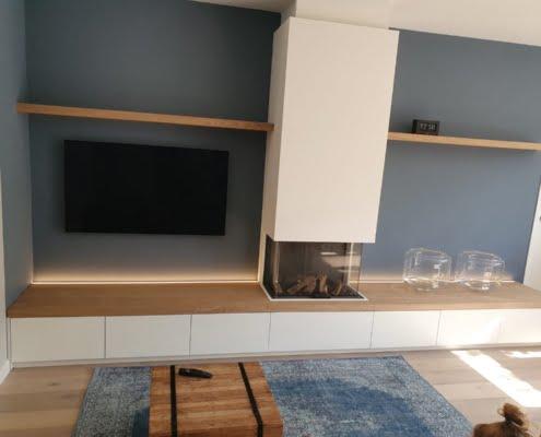 tv kast met haard en opbergruimte voor accessoires