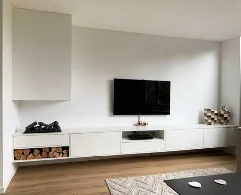 TV kast met open haard
