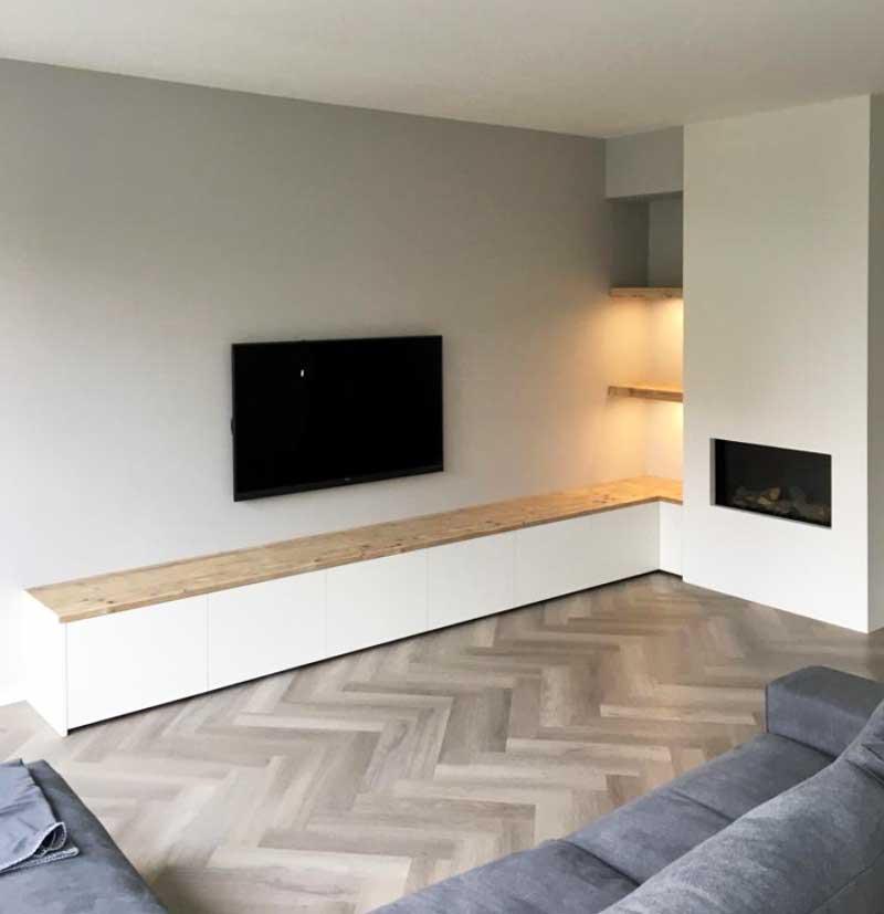 TV kast met haard en LED verlichting